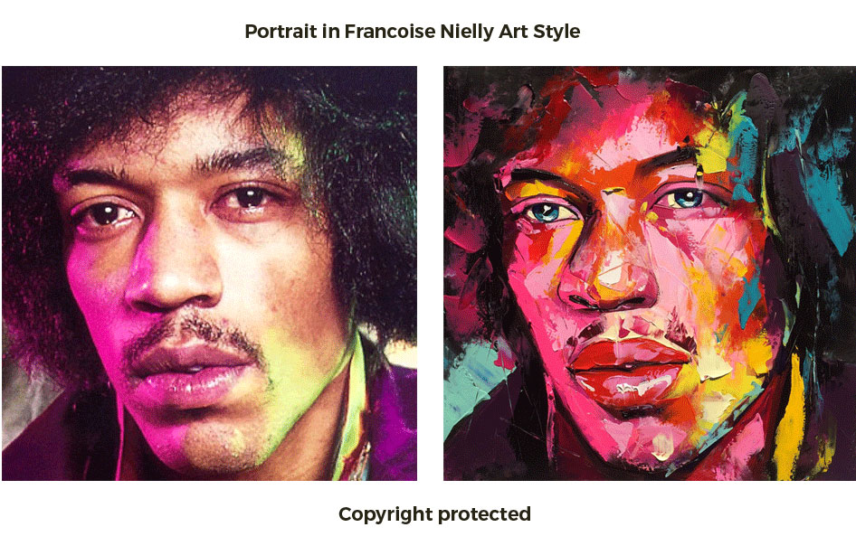 Portrait painting in francoise nielly style