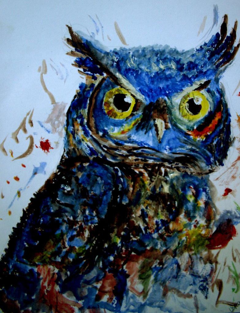 Colorful Painted Owl Art Project  Deep Space Sparkle